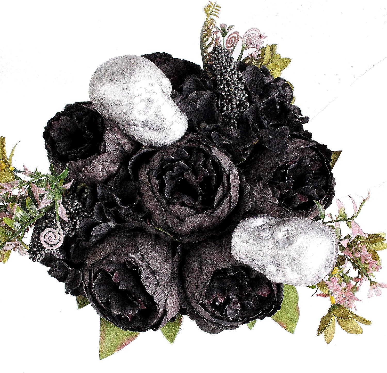 Shengyuan Halloween Decoration Artificial Flowers Peony Fake Silk Flowers Bouquet for Home Halloween Party Centerpieces Arrangement Decor(Black)