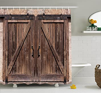 Rustic Shower Curtain by Ambesonne Wooden Barn Door in Stone Farmhouse Image Vintage Desgin Rural & Amazon.com: Rustic Shower Curtain by Ambesonne Wooden Barn Door in ...
