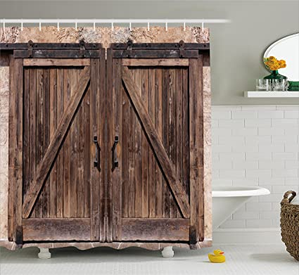 Ambesonne Rustic Shower Curtain Wooden Barn Door In Stone Farmhouse Image Vintage Desgin Rural Art