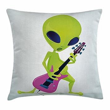 Popstar parte manta almohada Funda de cojín por Ambesonne, dibujos animados alien carácter jugando guitarra