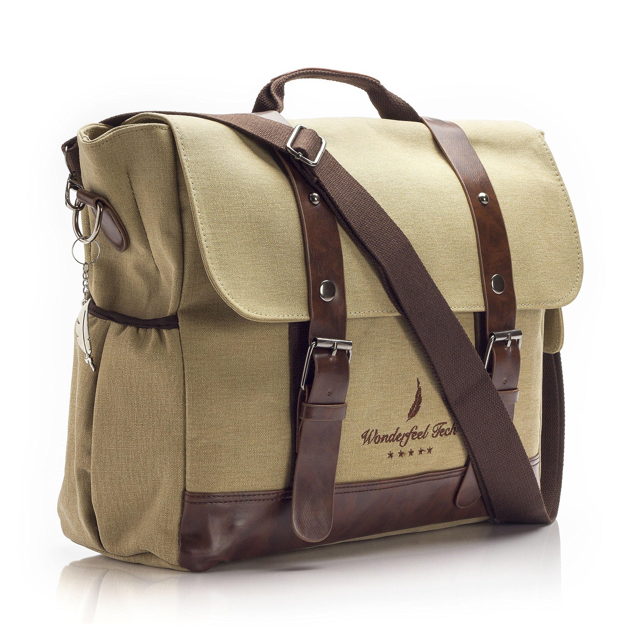 "Vintage Style Laptop Messenger Bag | Multipurpose Ergonomic Lightweight Design | Safe Shockproof Sleeve | Genuine Leather & Canvas Satchel Fits Devices up to 15.6"" +FREE BONUS Feather Keychain GIFT!"