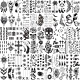 VANTATY 66 Sheets 3D Small Black Temporary Tattoos For Women Men Waterproof Fake Tattoo Stickers For Face Neck Arm Children T
