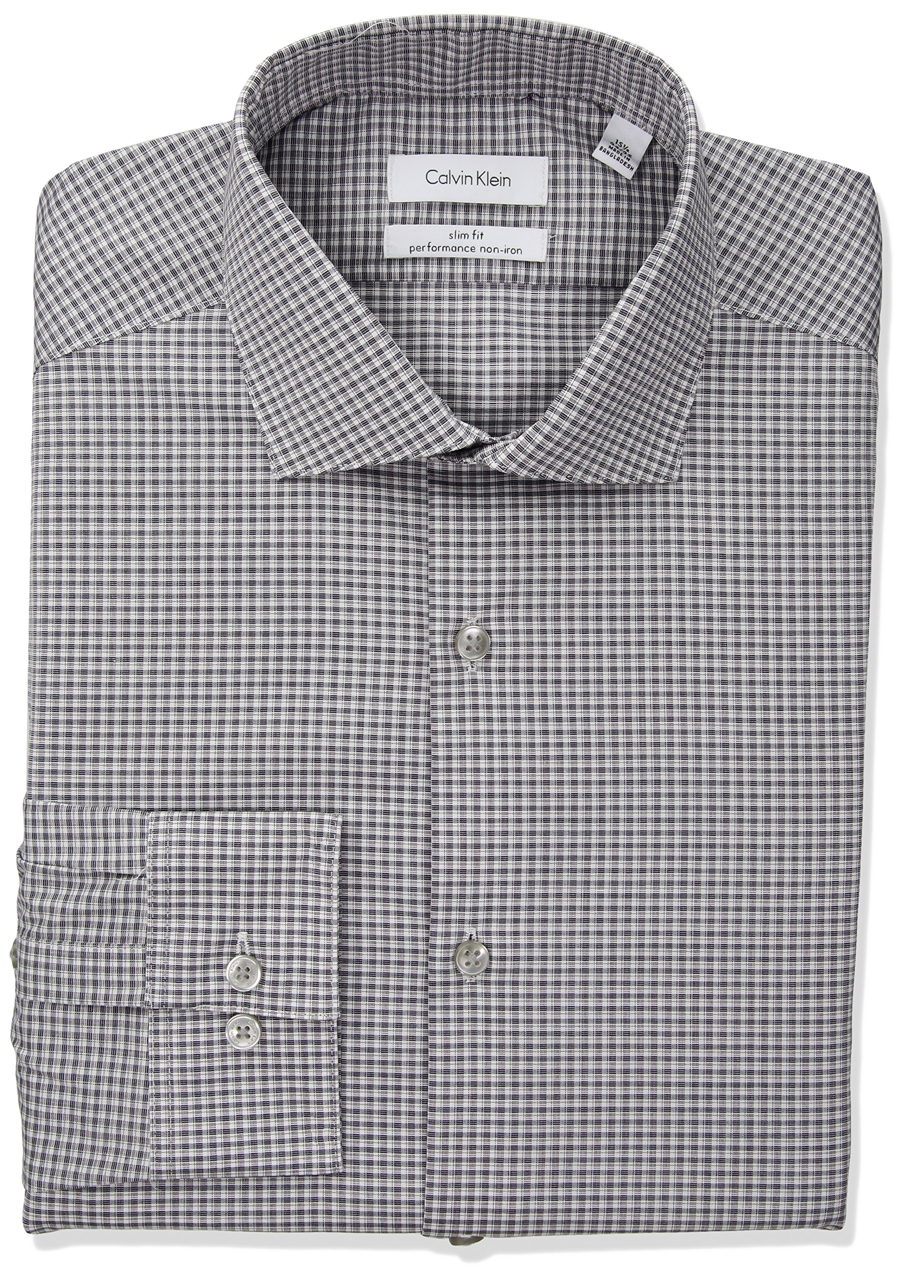 Calvin Klein Men's Non Iron Slim Fit Stretch Check Spread Collar Dress Shirt, Red/Multi, 16.5'' Neck 34''-35'' Sleeve