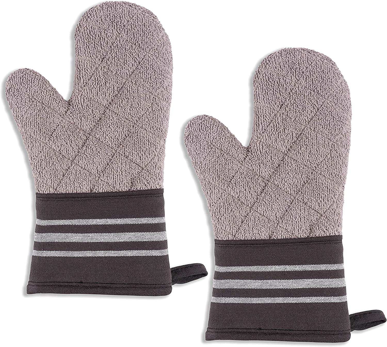 KAF Home Christopher Kimball's Milk Street Kitchen French Stripe Terry Lined Oven Mitt Set of 2 (Raven)