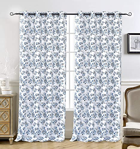 DriftAway Claire Watercolor Floral Leaves Room Darkening Window Curtain Grommet 2 Panels 52 Inch by 84 Inch Navy