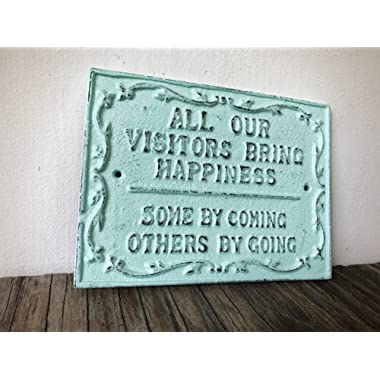 Funny Guest Room Sign - Farmhouse Entryway Decor - Rustic Welcome Wall Art - Sea Foam Blue Country Chic Wall Plaque