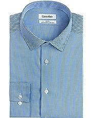 8d0a1555 Calvin Klein Mens Dress Shirts Non Iron Slim Fit Gingham Spread Collar