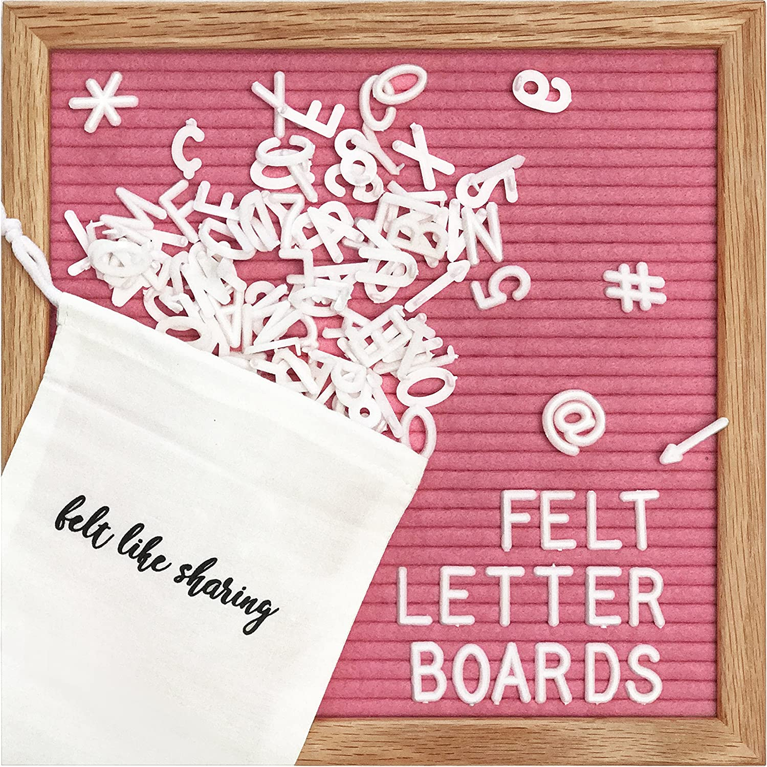 Hot Pink Felt Letter Board 10x10 Inches. Changeable Letter Boards Include 300 White Plastic Letters and Oak Frame.