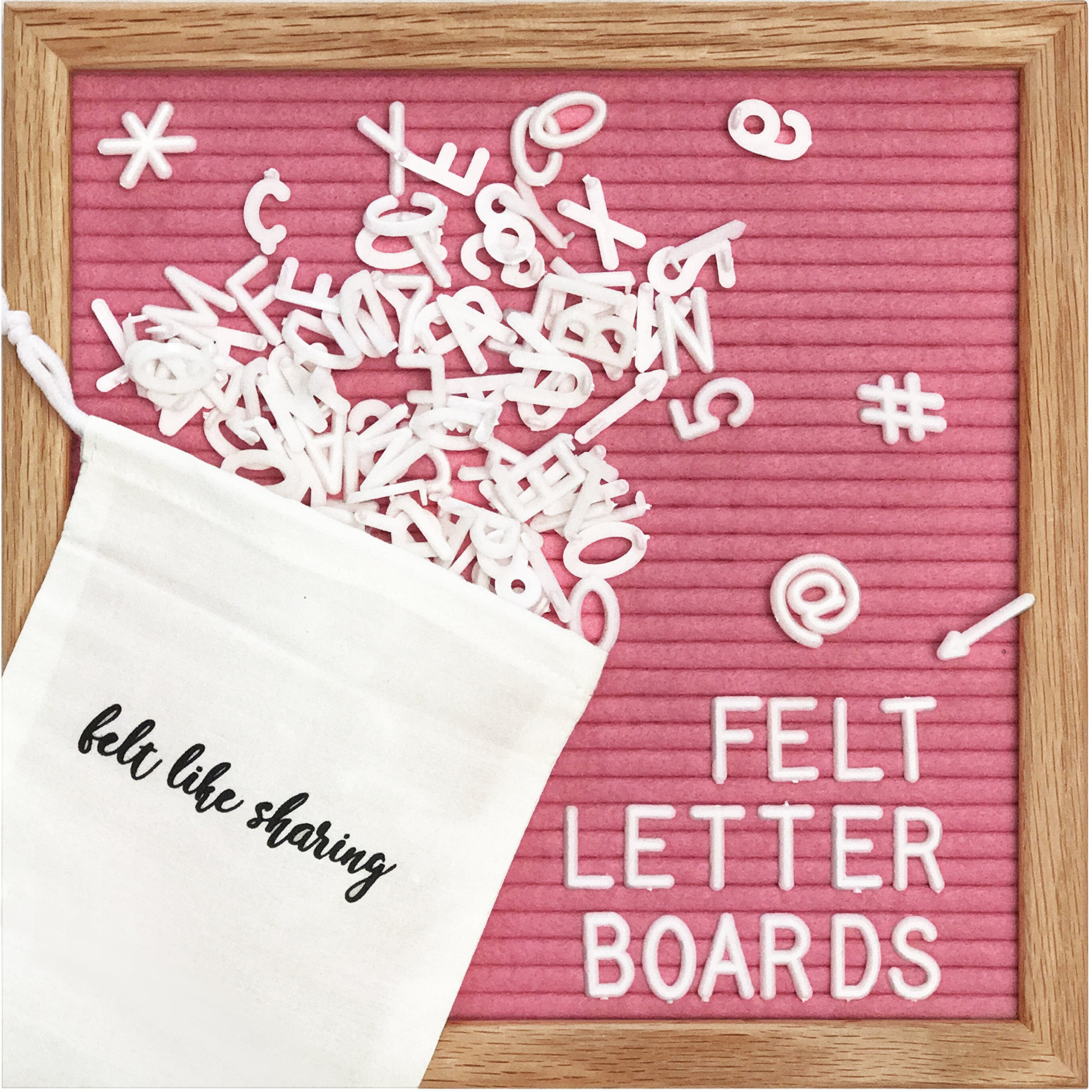 Hot Pink Felt Letter Board 10x10 inches. Changeable Letter Boards Include 300 White Plastic Letters & Oak Frame.