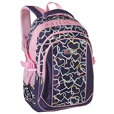 100% authentic check out sold worldwide Girls' School Backpack, Kids Elementary School Purple Bookbag w/ Rainbow  Hearts Design, 18-Inch