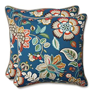 "Pillow Perfect 573342 Outdoor Telfair Throw Pillow, Set of 2, 18.5"", Blue"