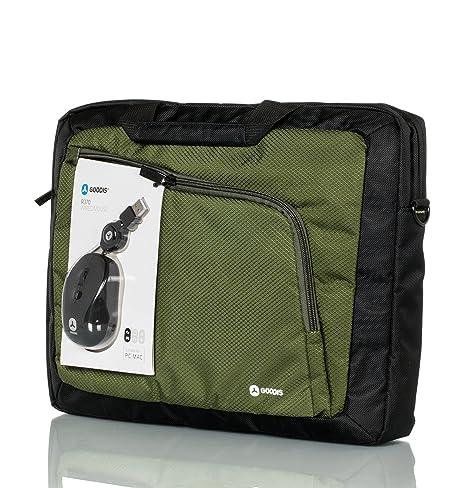 Goodis 5361715-Bolsa para ordenador portátil, color negro y verde