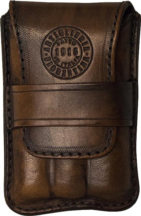 braun von Hand gef/ärbt Made in Italy Artiglieria Fiorentina Geformtes Zigarrenetui Leder Zigarrenhalter 1-3 halben Zigarren