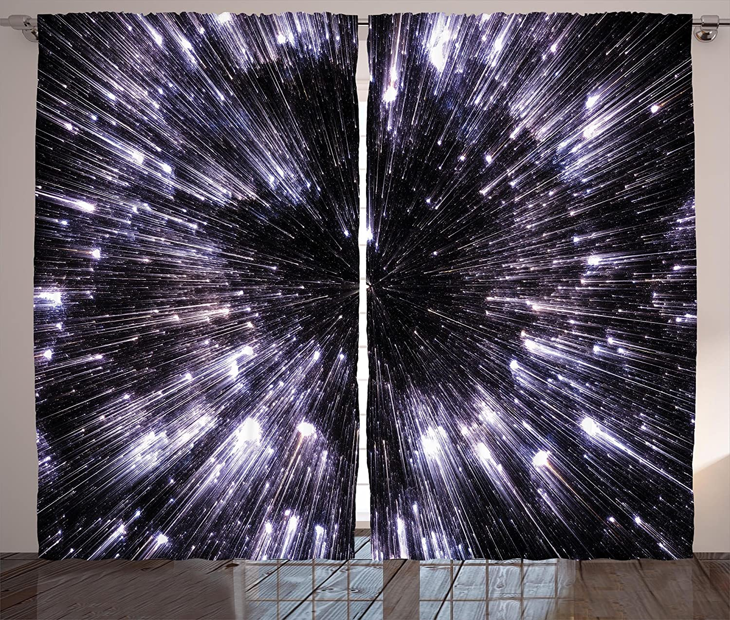 """Ambesonne Galaxy Curtains, Speed of Life Space Travel Galaxy Universe Science Fiction Future, Living Room Bedroom Window Drapes 2 Panel Set, 108"""" X 84"""", Violet Black"""