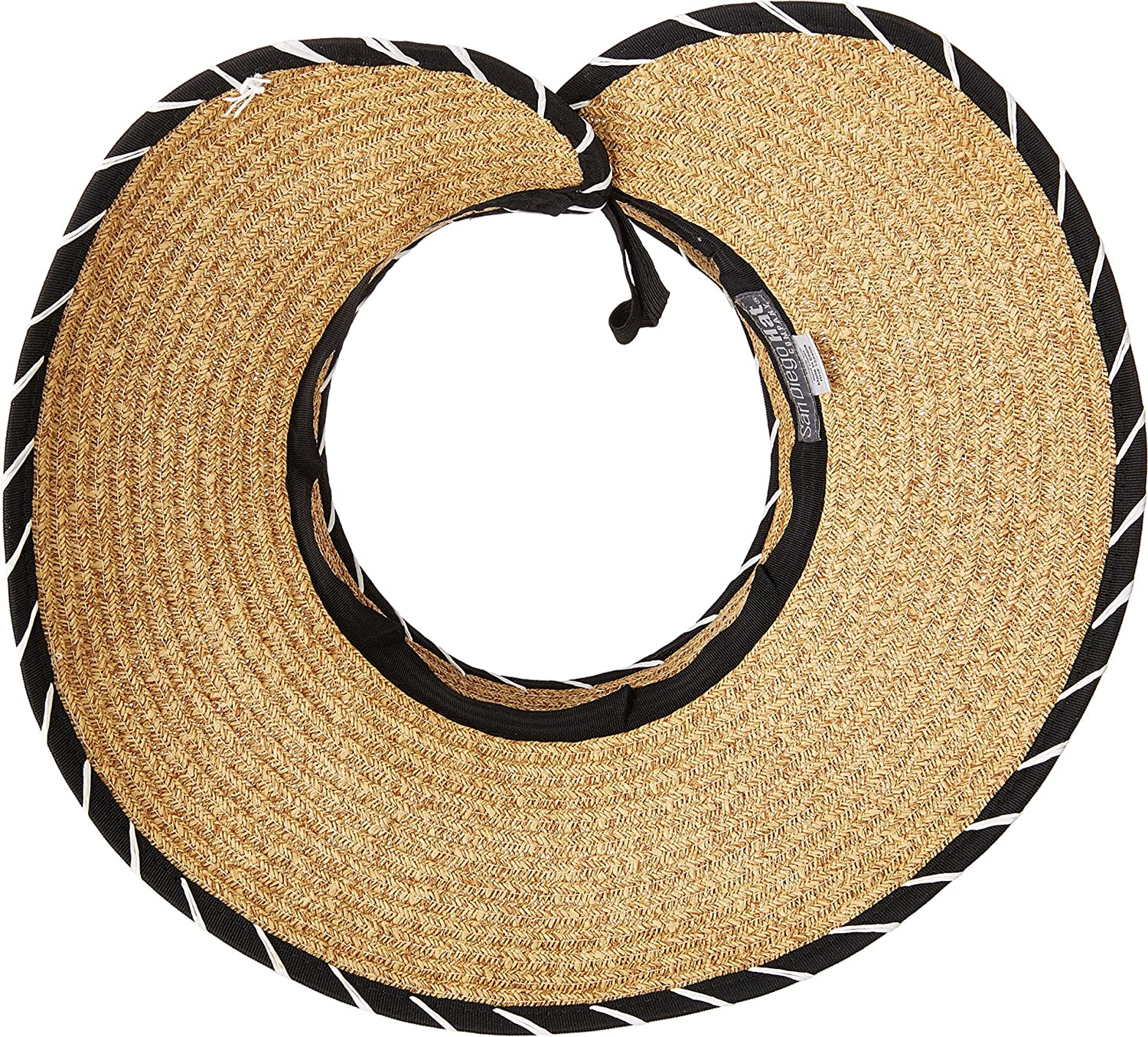 San Diego Hat Company Womens Whip Stitched Edges and Bow Closure Roll up Visor