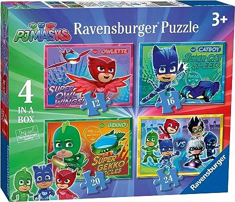 Ravensburger Caja de 4 Rompecabezas 6917, Rompecabezas de 12, 16, 20 y 24 Piezas con imágenes de los Personajes de la Serie de televisión PJ Masks