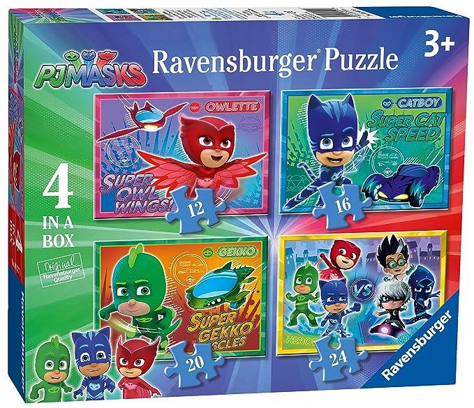 Ravensburger Caja de 4 Rompecabezas 6917, Rompecabezas DE 12, 16, 20 y 24 Piezas con Imágenes de los Personajes de la Serie de Televisión PJ Masks: ...