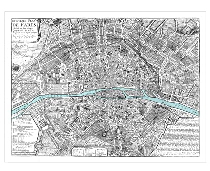 Amazon com: 1705 Map of Paris - Large High-Resolution Vintage Map