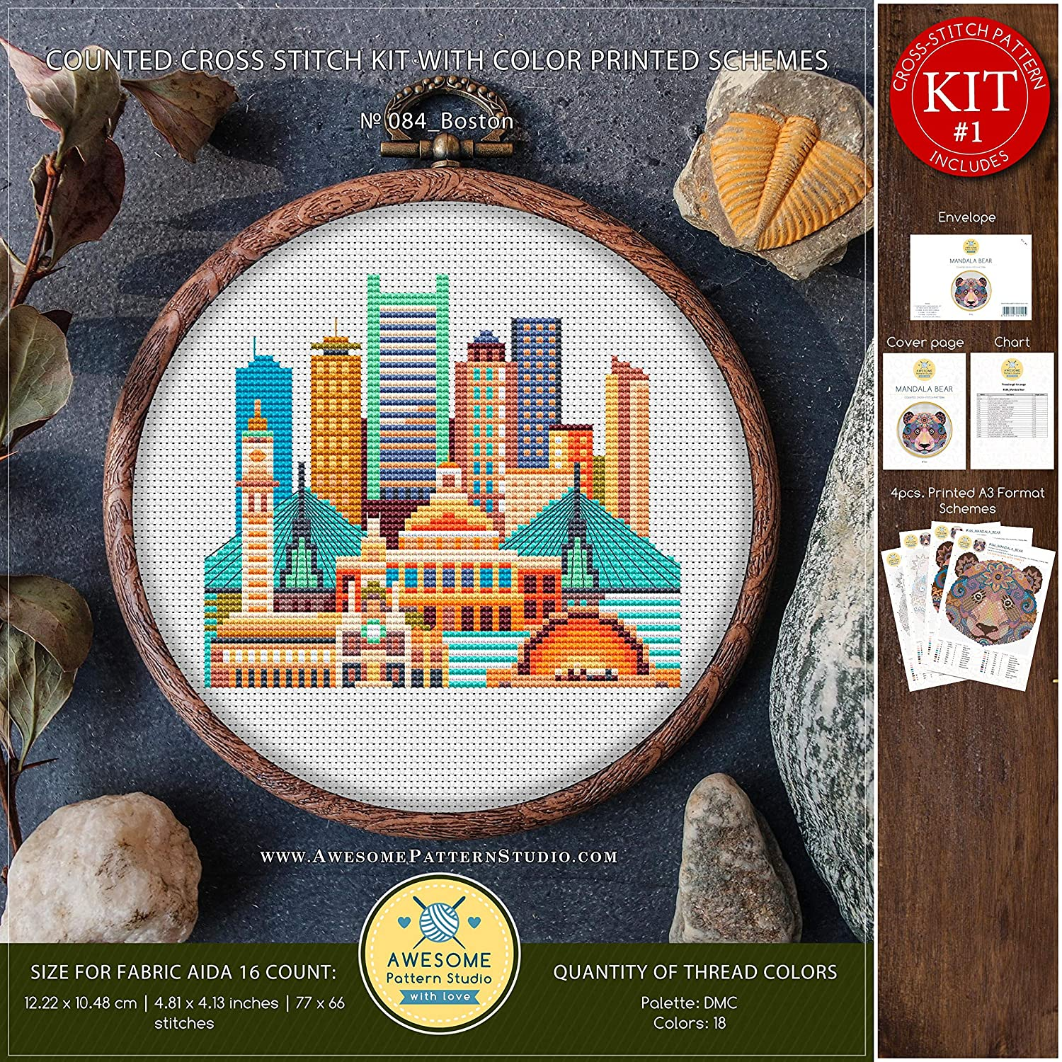 City Skyview Cross Stitch Designs Boston #K084 Cross Stitch Embroidery Kit Cross Stitch Kits Cross Pattern Cross Stitch World Cross Designs