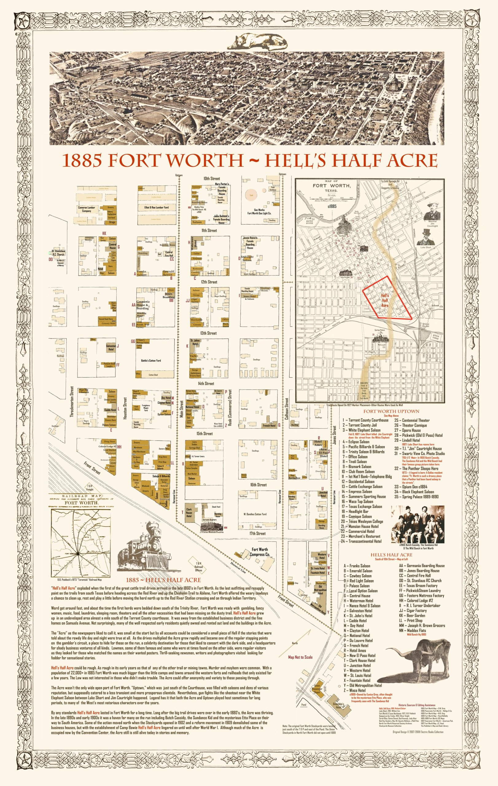 1885 Fort WorthHELLs HALF ACRETX Trail MapOriginal 24x18 Texas