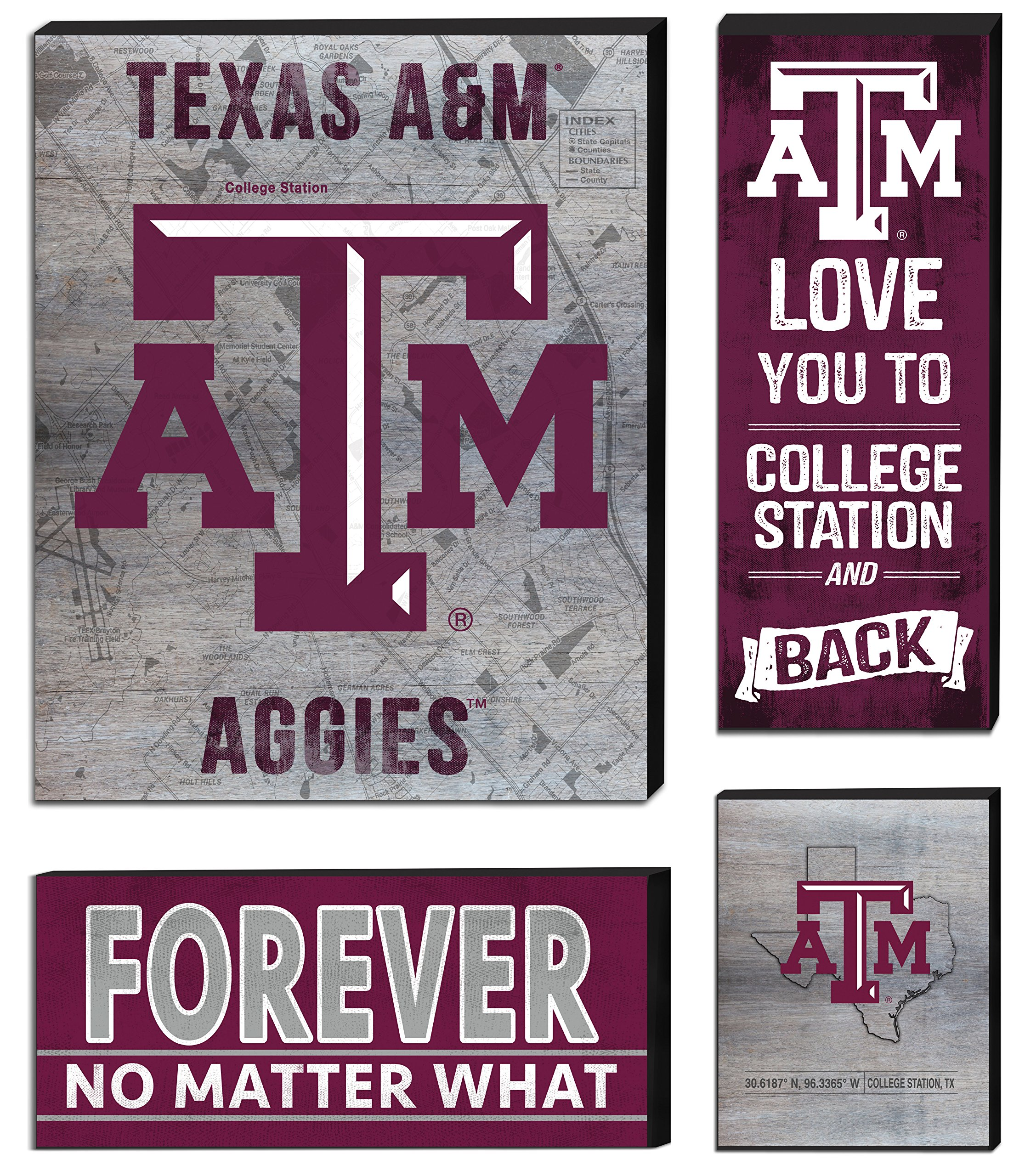 KH Sports Fan 27''x23'' Texas a&M Aggies Road to Victory 4 Pc Canvas Set M 4