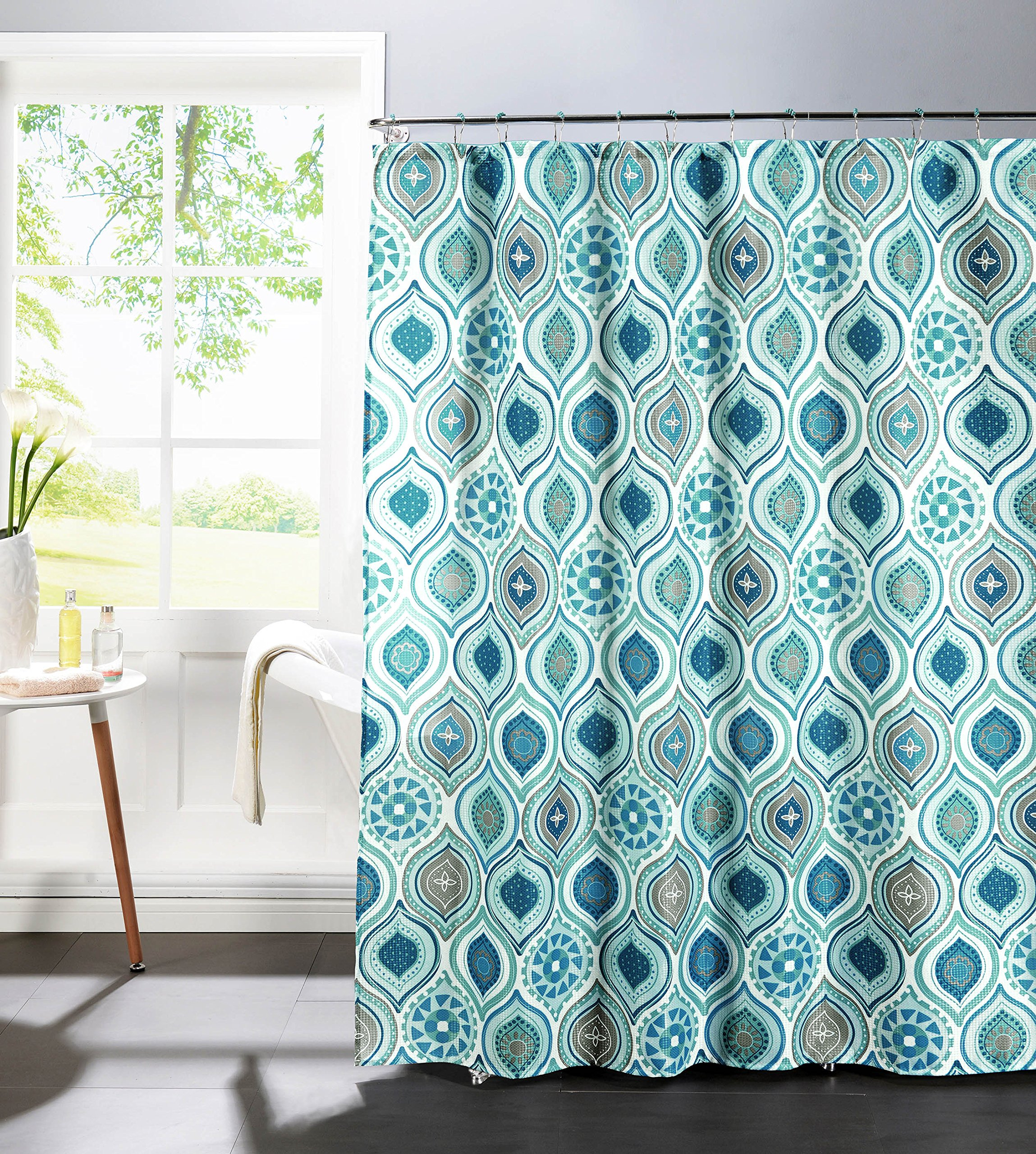 Creative Home Ideas Diamond Weave Textured 13-Piece Shower Curtain with Metal Roller Hooks, Olina in Spa