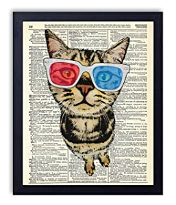 Cat in 3-D Glasses Vintage Wall Art Upcycled Dictionary Art Print Poster 8x10 inches, Unframed