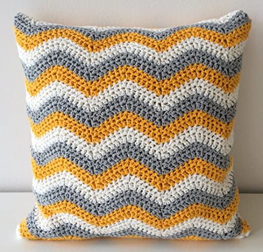 Amazon 40x40 Yellow Gray Crochet Chevron Throw Pillow Cover Beauteous How To Crochet A Pillow Cover