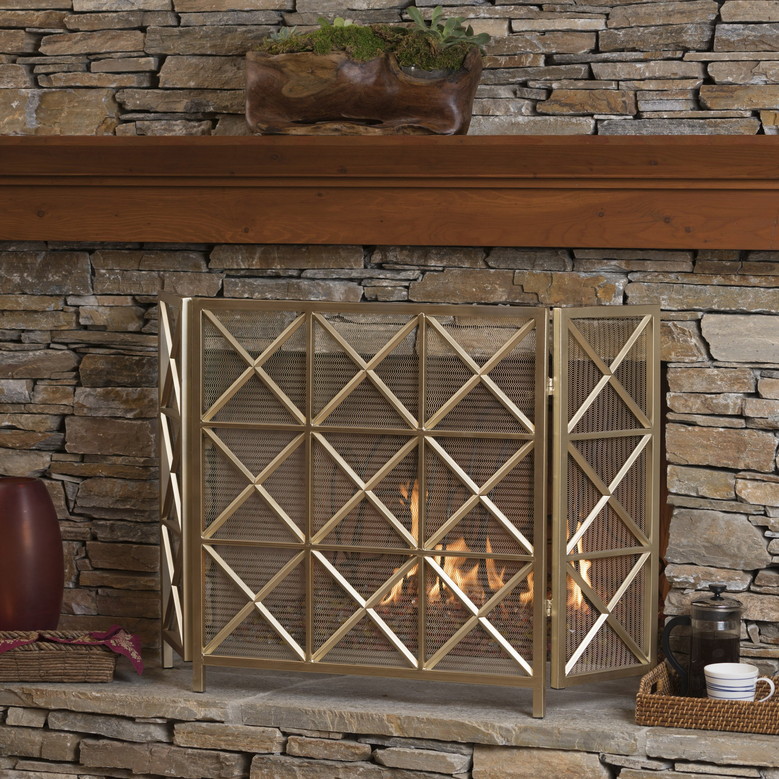 Christopher Knight Home Mandralla 3 Panelled Gold Iron Fireplace Screen by Christopher Knight Home