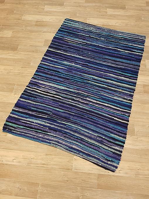 Kottig Salzburg - Alfombra (100% algodón, 120 x 180 cm, sin flecos), color azul: Amazon.es: Hogar