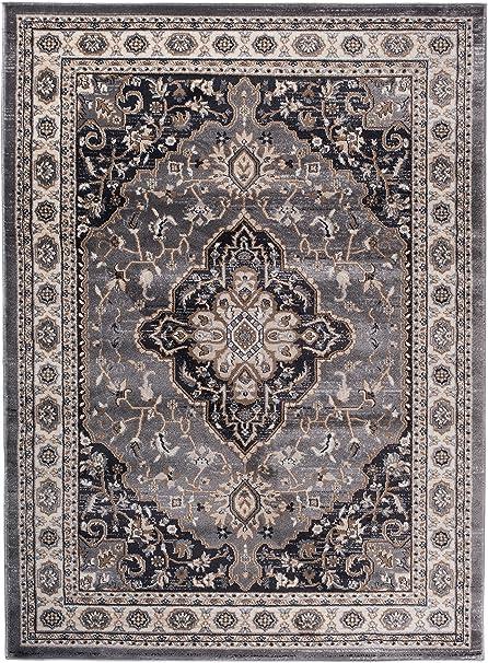Carpeto Rugs Tapis Salon Gris 250 x 350 cm Oriental/Ayla Collection