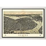 Vintage Boston Massachusetts Birds Eye View Map Reproduction ART PRINT from 1899, UNFRAMED, Wall art decor poster sign, All Sizes