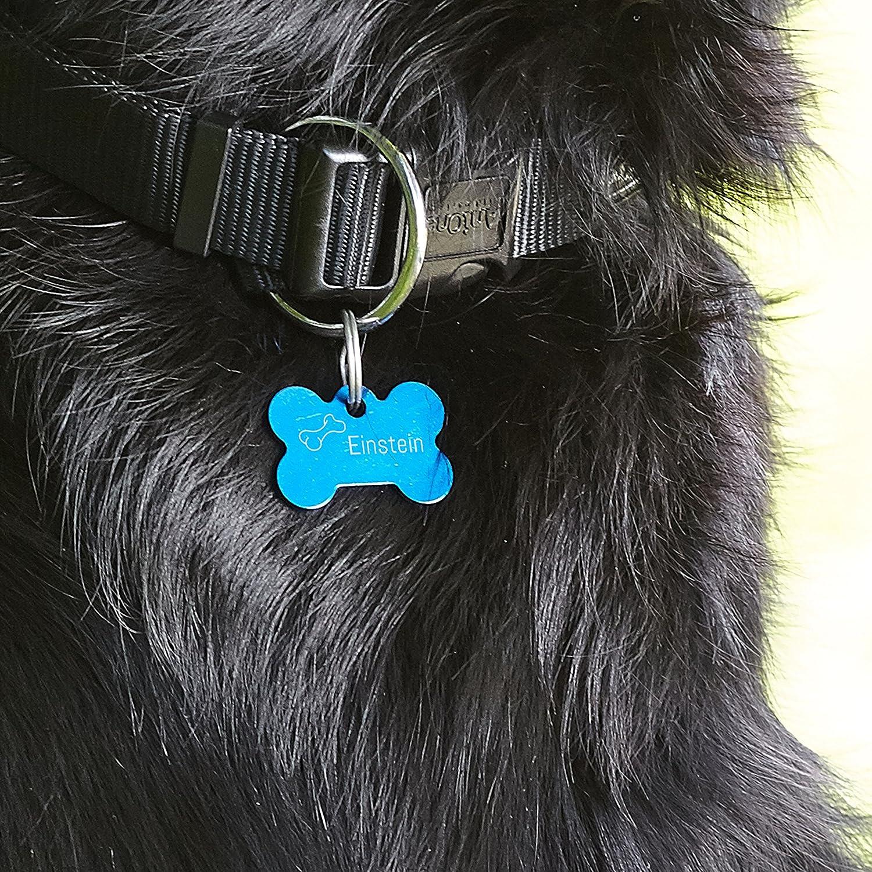Foto Premio Tiermarke in Knochenform mit pers/önlicher Gravur gestalten Hundemarke mit individueller Widmung, inkl. Schl/üsselring, aus Aluminium, personalisierbarer Text, per Lasergravur