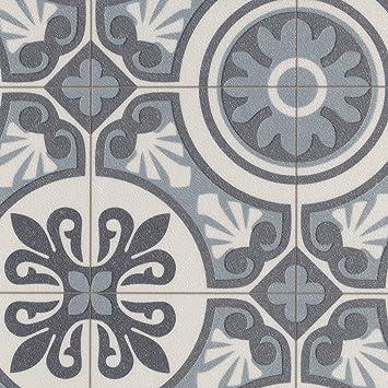 PVC Bodenbelag Steinoptik | Fliesenoptik Retro blau | 200, 300 und 400 cm  Breite | Meterware, verschiedene Größen | Größe: Muster