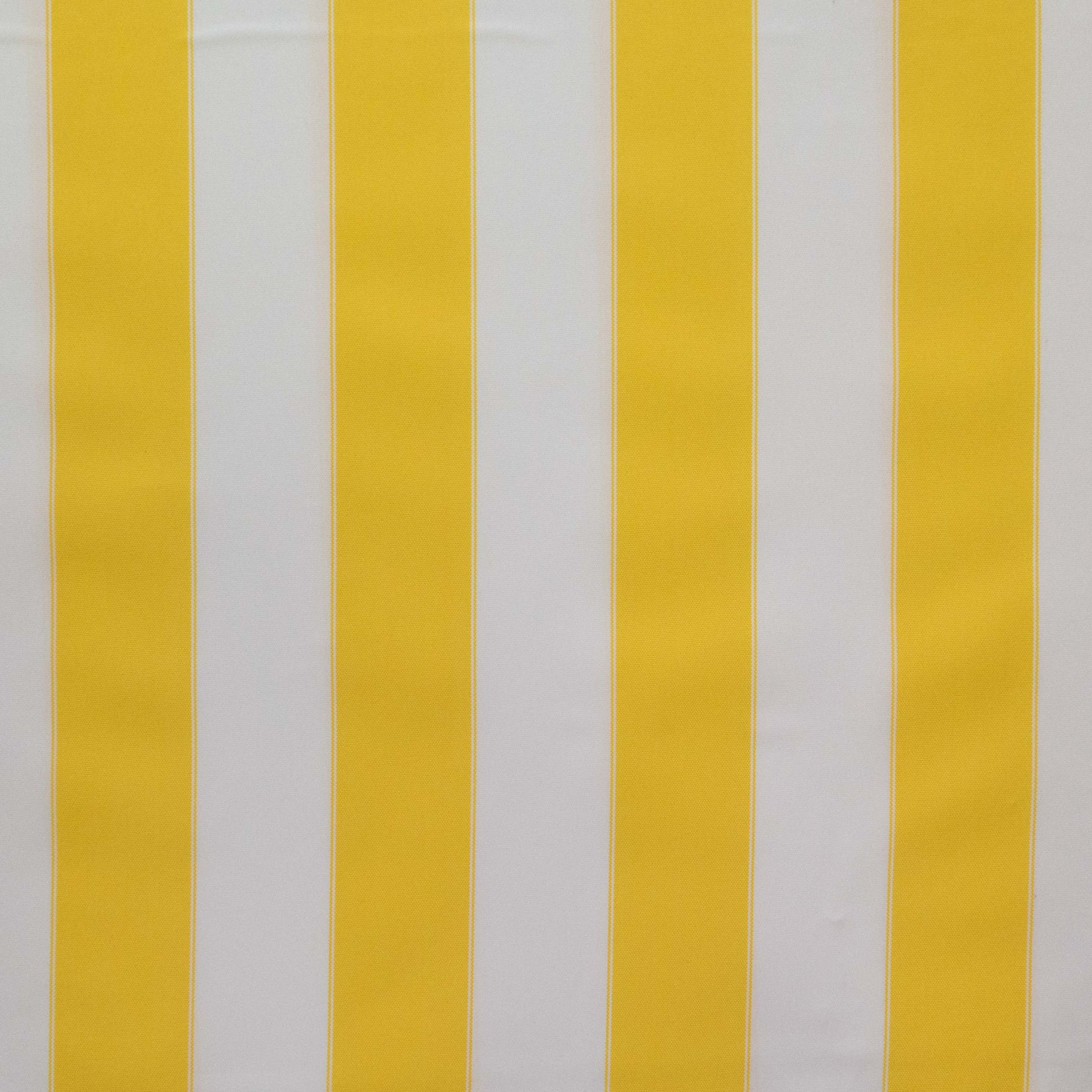 Stripe Indoor Outdoor Waterproof Canvas Yellow White Fabric by The Yard (F.E.)