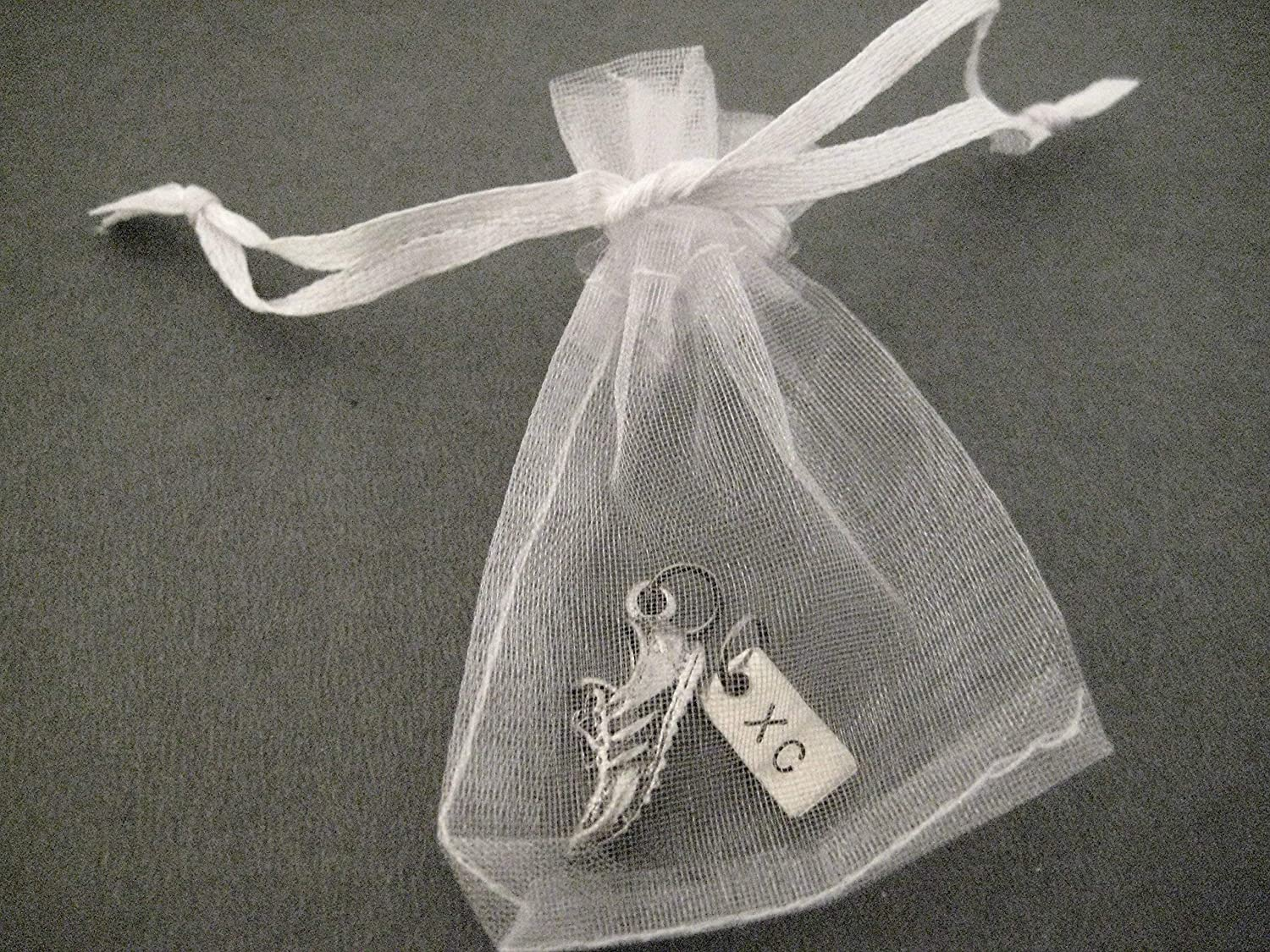 10 Sets of RUNNING SHOE XC Charm Set 1 1 ONE Pewter Running Shoe Charm Plus ONE XC Charm in Each Set SHOE XC 10 Pack Set Each Set in Organza Bag