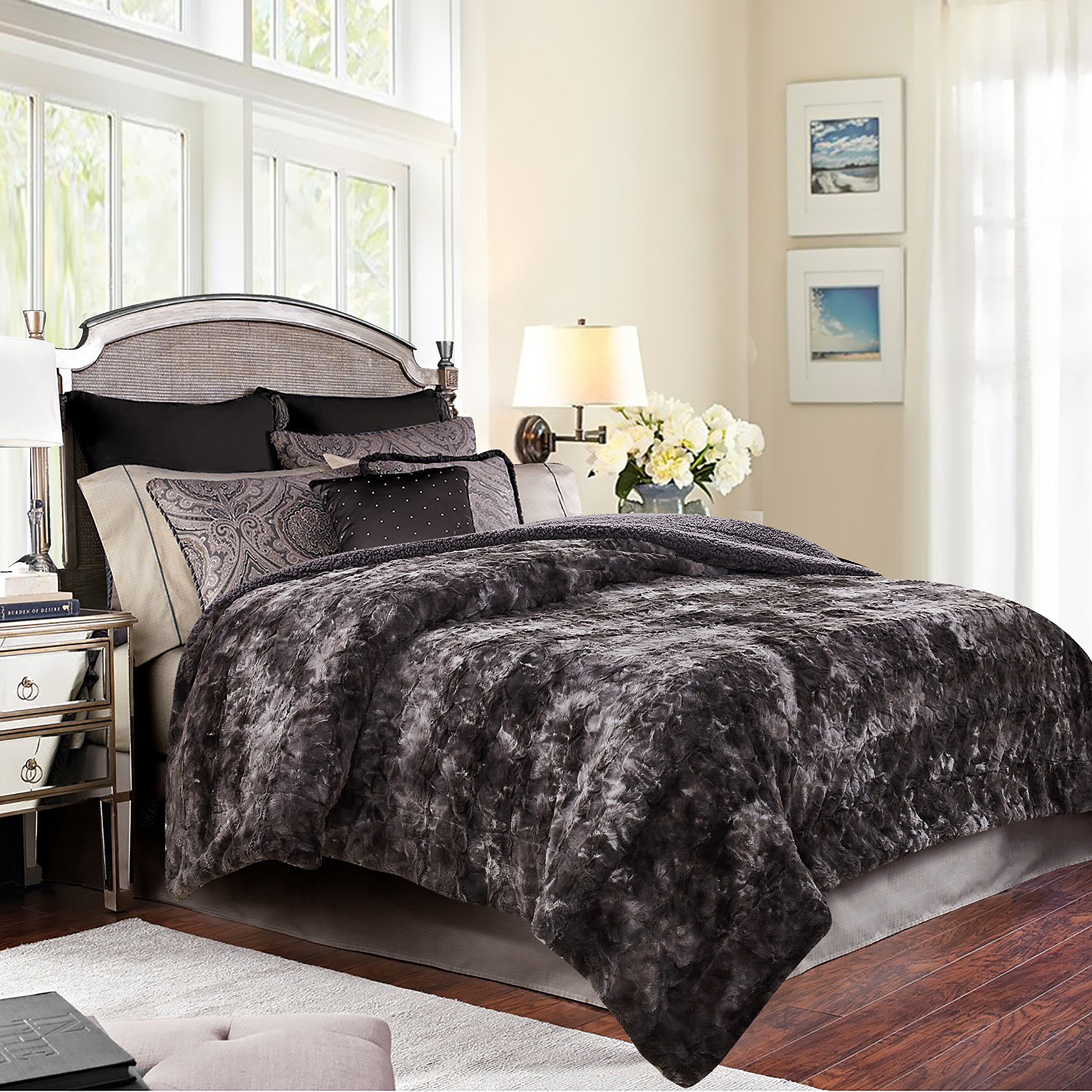 reversible fur bed comforter for the pin chinchilla fashion bedding set in faux grey