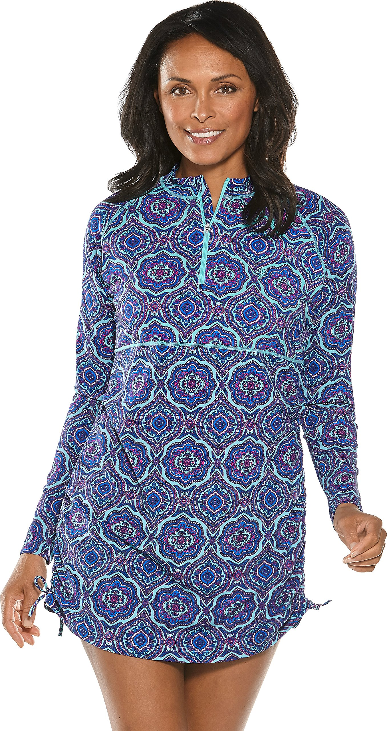 Coolibar UPF 50+ Women's Island Ruche Swim Shirt - Sun Protective (Medium- Tropical Mint Beach Medallion)
