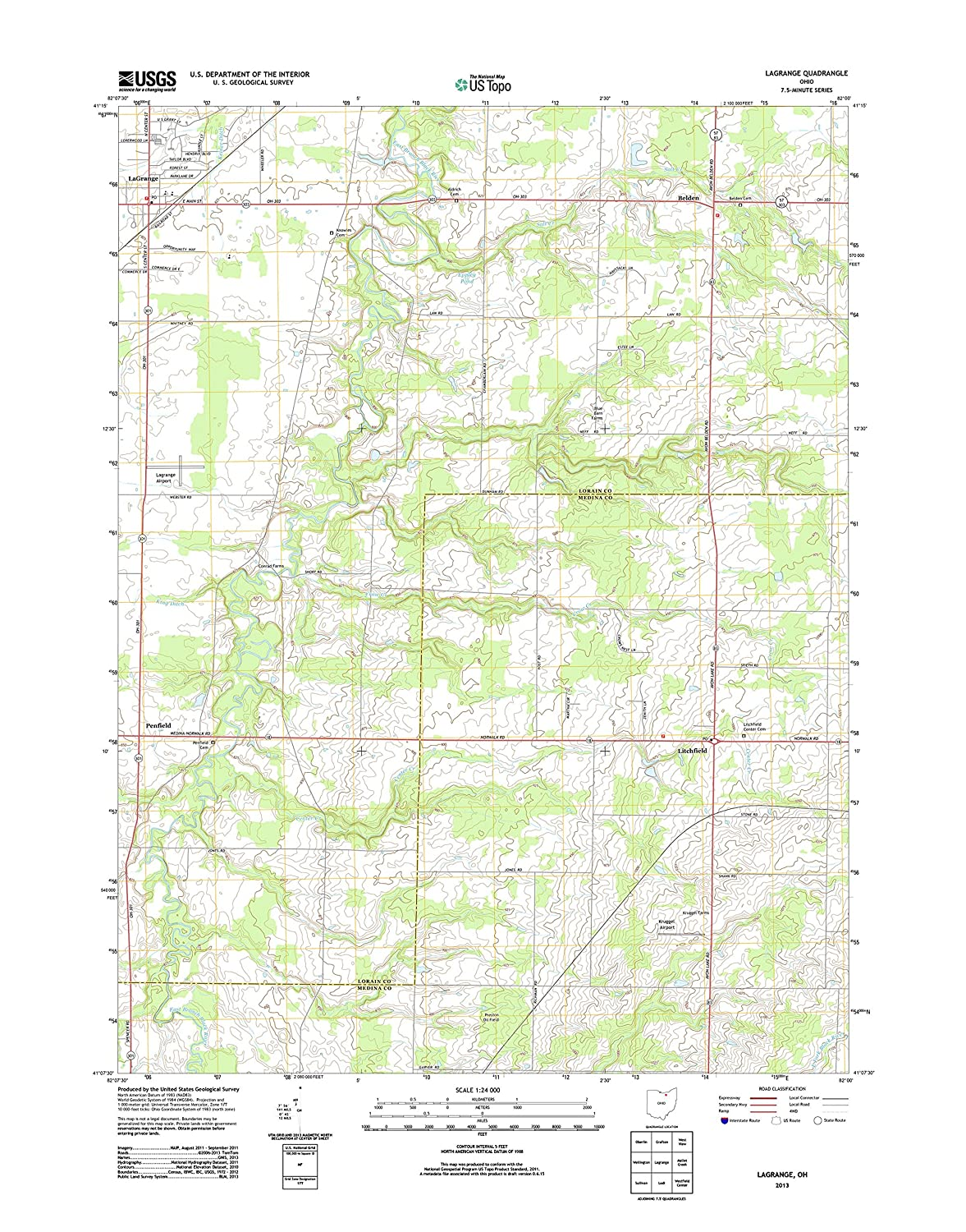 Lagrange Ohio Map.Amazon Com Topographic Map Poster Lagrange Oh Tnm Geopdf 7 5x7 5