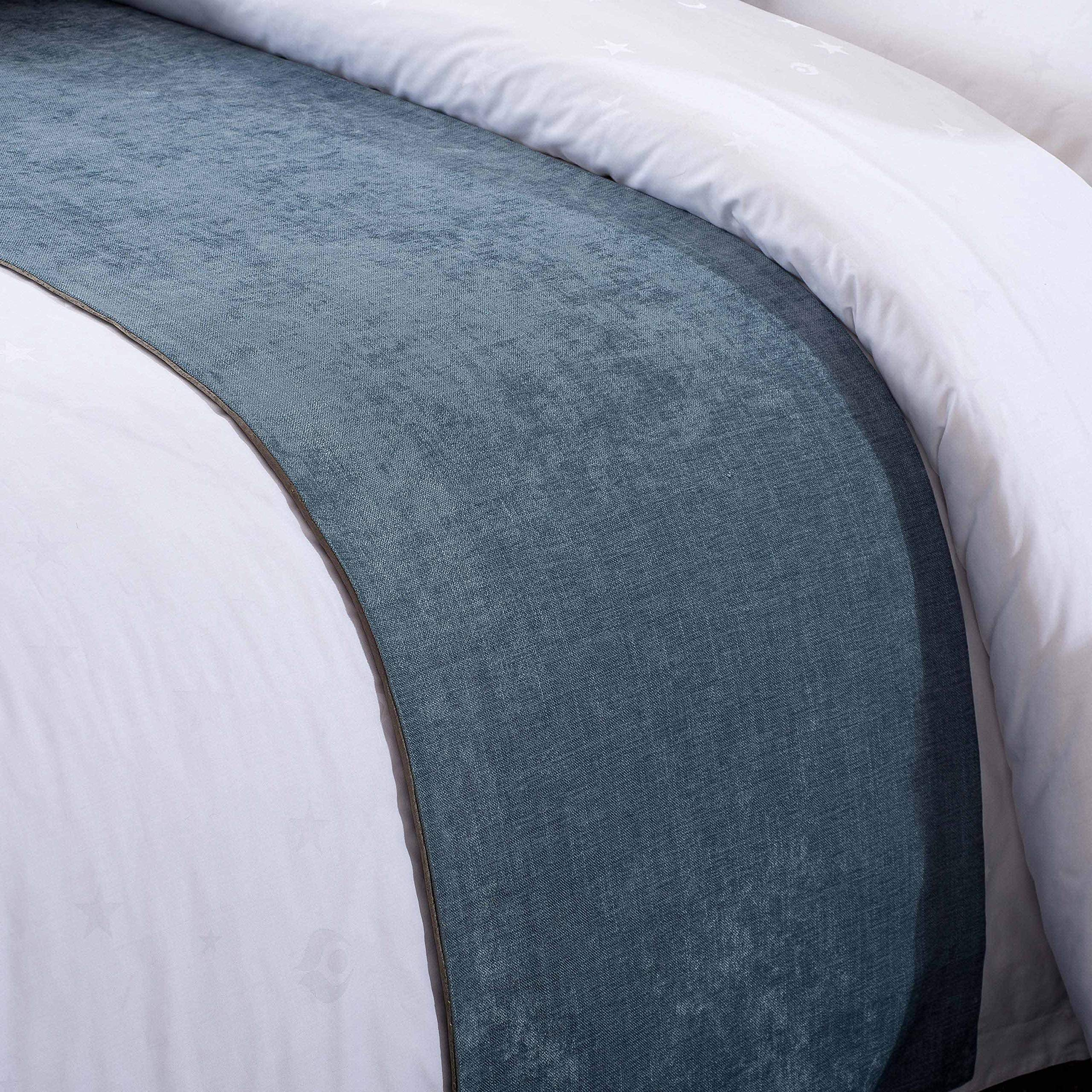 OSVINO Solid Color Chenille Soft No Fading Modern Bed Runner Bedding Scarf Protection, Blue 260X50cm for 200cm Bed by OSVINO (Image #3)