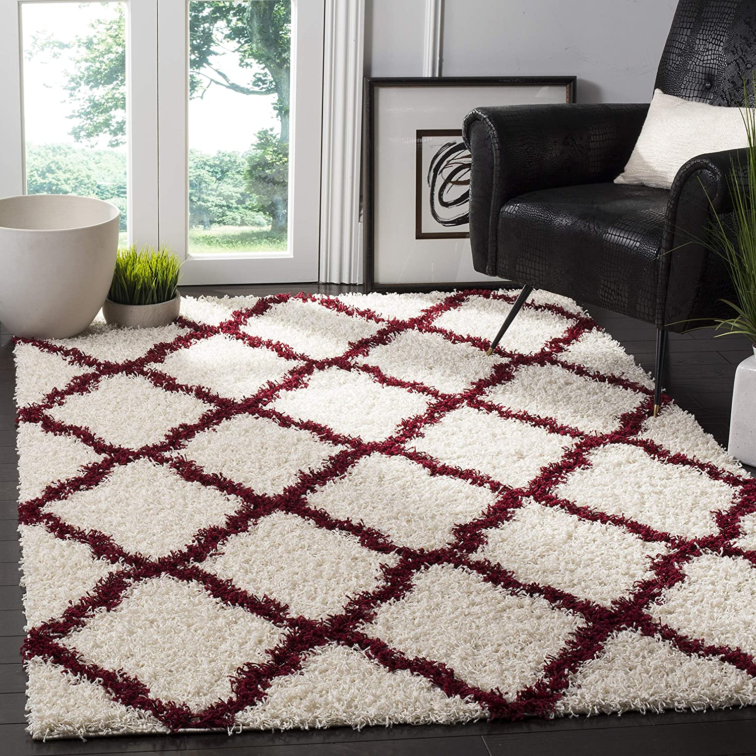 SAFAVIEH Dallas Shag Collection SGD257R Trellis Non-Shedding Living Room Bedroom Dining Room Entryway Plush 1.5-inch Thick Area Rug, 5'1