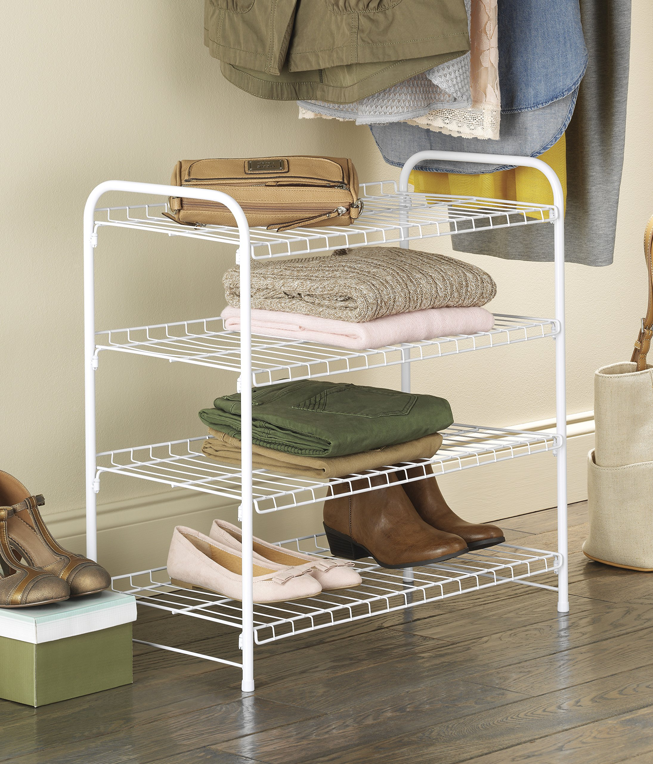 Whitmor 4 Tier White Wire Closet Shelves 689851181870 | eBay
