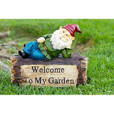 Alpine Corporation WAC200 Gnome and Welcome Sign Statue Outdoor Garden, Patio, Deck, Porch-Yard Art Decoration, 9-Inch Tall, Multicolor : Outdoor Statues : Garden & Outdoor