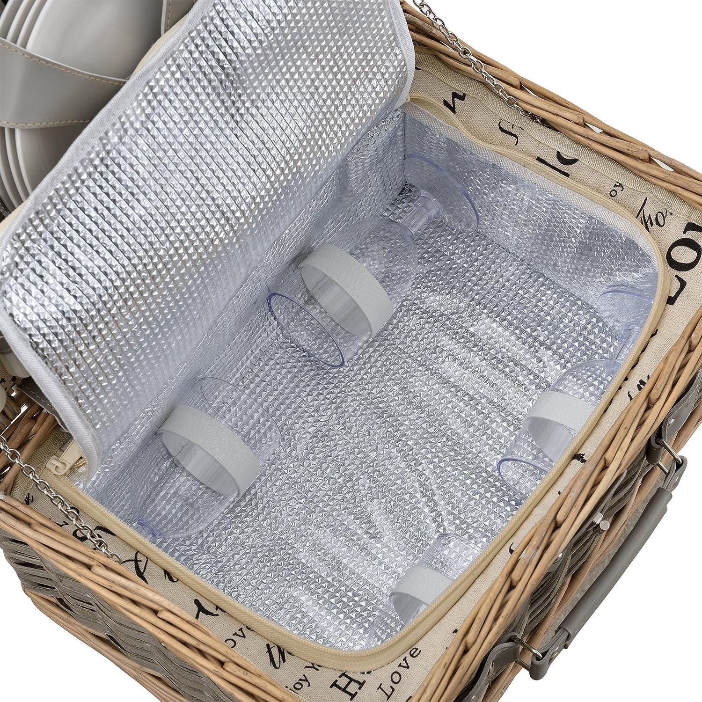 [casa.pro]® Panier de pique-nique pour 4 personnes Incl. vaisselle, couverts, sac isotherme et verres - gris