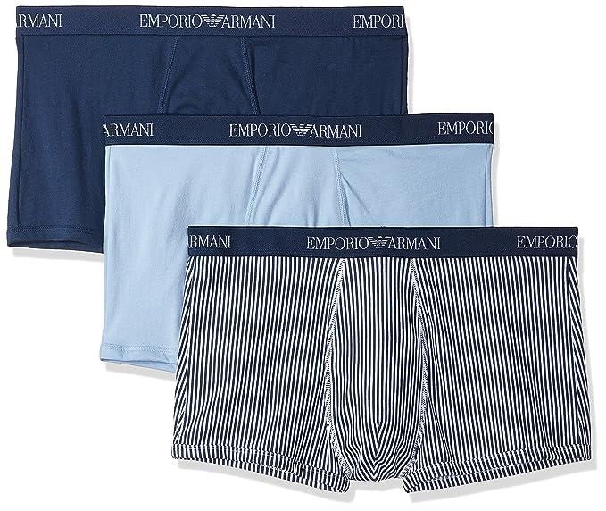 Emporio Armani Hombre Pack de 3 Baúles de Algodón, Azul: Amazon.es: Ropa y accesorios