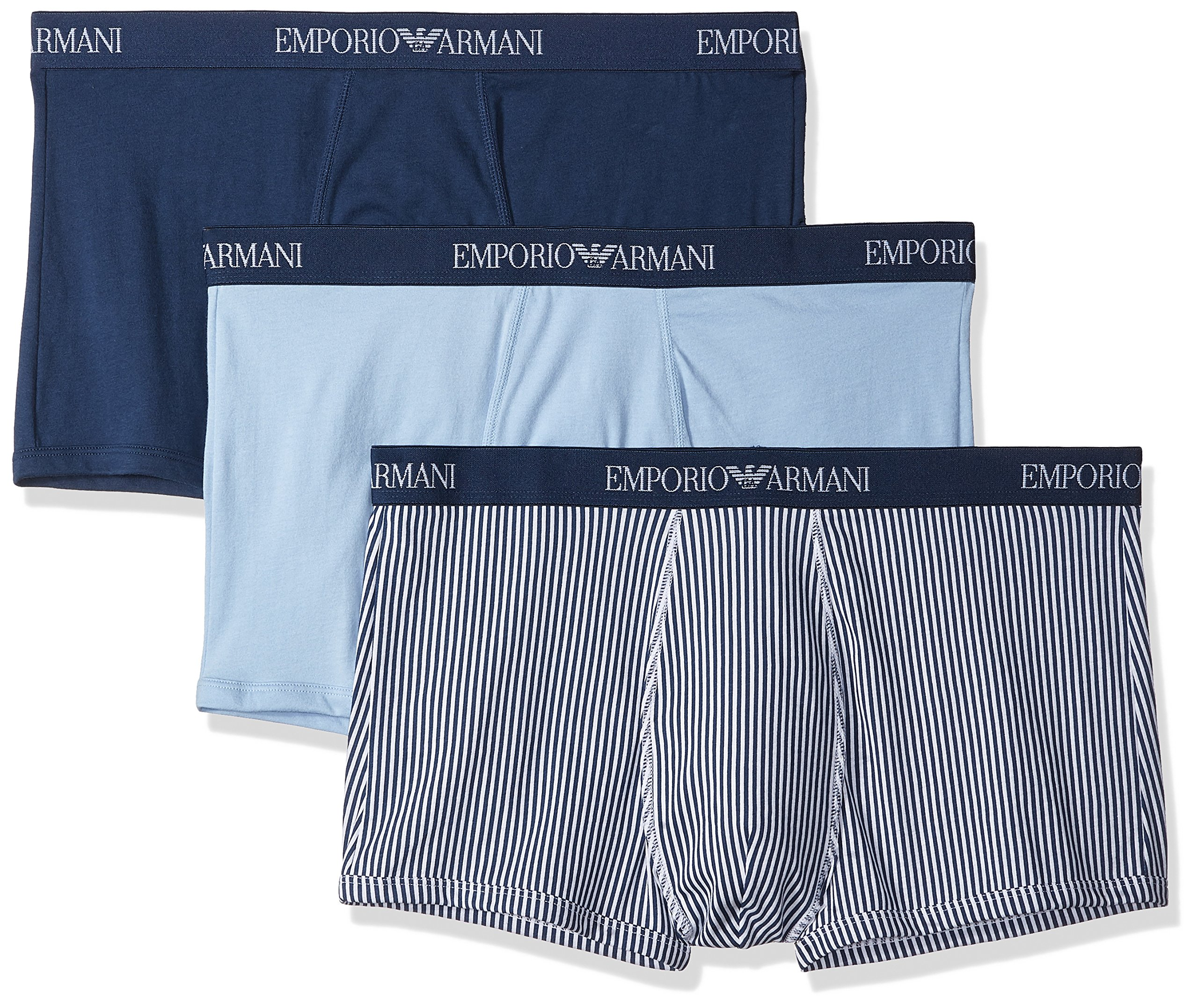 Emporio Armani Men's Pure Cotton 3-Pack Trunk, Stone Blue/Printed Stone Blue/Light Blue, Large