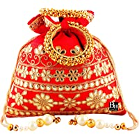 Bombay Haat Women's Ethnic Rajasthani Silk Gota Patti Potli Purse Bridal (Red)