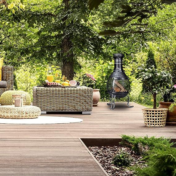 Relaxdays Brasero de jardín, Atizador, Rejilla Protectora, Chimenea de Exterior, 89 cm, 1 Ud, Gris: Amazon.es: Jardín