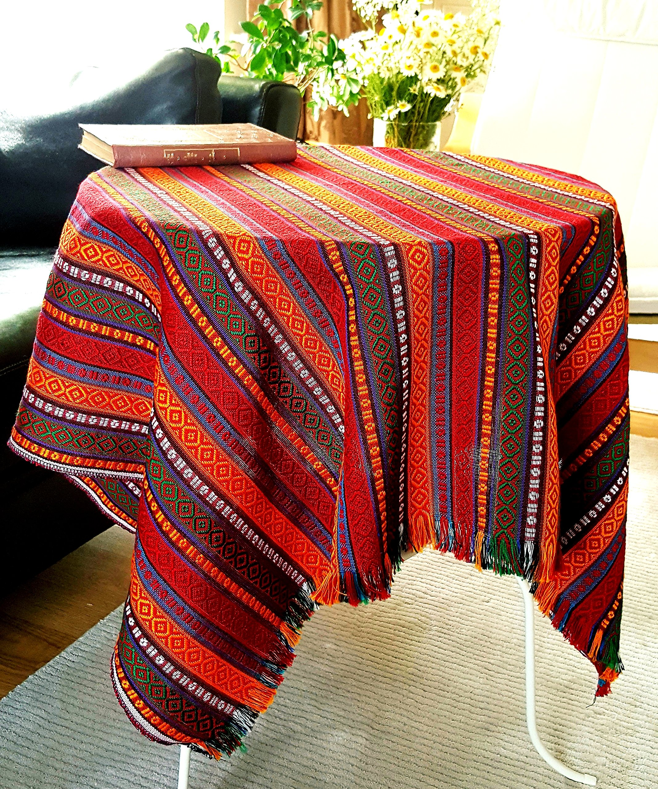 Secret Sea Collection - Ethnic Pattern Square Tablecloth, Natural Dye Colors, Perfect for Side & End Tables, Square Tables, Picnic Tables or Picnic Tablecloth (40'' x 40'', Hot Chili Sauce) - This bright and fun tablecloth is great for indoors or outdoors. Material: Cotton acrylic yarn , Sizes: 40x40 inches( 100x100 cm), Reversible, Made in Turkey. Available in different color and size variations. Two edges have natural fringes. - tablecloths, kitchen-dining-room-table-linens, kitchen-dining-room - A1wrk QD1FL -