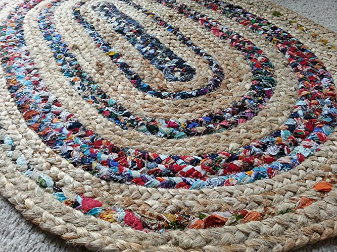 Amazon.com: Braided rag rug in jute and bright cotton ...